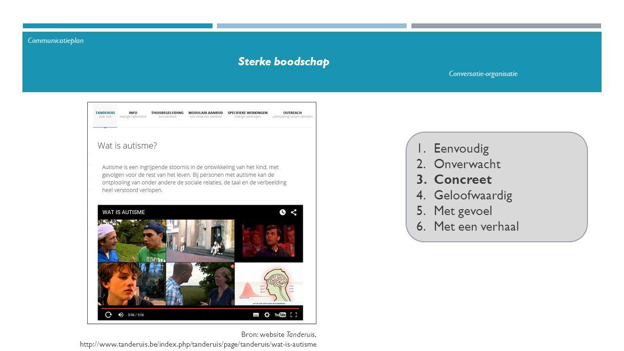 1.Eenvoudig 2.Onverwacht 3.Concreet 4.Geloofwaardig 5.Met gevoel 6.Met een verhaal Communicatieplan Sterke boodschap Conversatie-organisatie Bron: website Tanderuis, http://www.tanderuis.be/index.php/tanderuis/page/tanderuis/wat-is-autisme