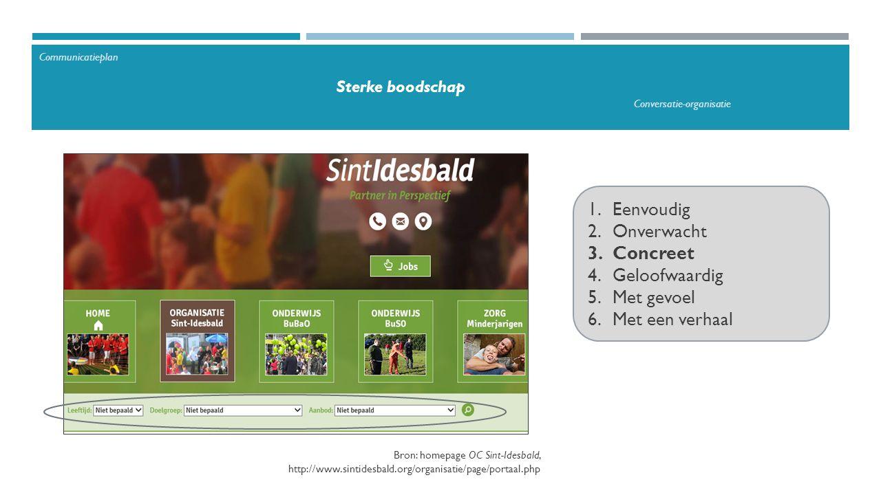 1.Eenvoudig 2.Onverwacht 3.Concreet 4.Geloofwaardig 5.Met gevoel 6.Met een verhaal Communicatieplan Sterke boodschap Conversatie-organisatie Bron: homepage OC Sint-Idesbald, http://www.sintidesbald.org/organisatie/page/portaal.php