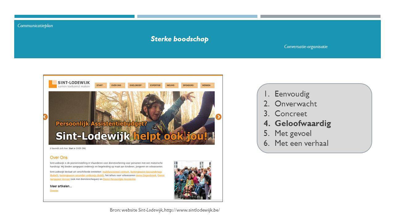 1.Eenvoudig 2.Onverwacht 3.Concreet 4.Geloofwaardig 5.Met gevoel 6.Met een verhaal Bron: website Sint-Lodewijk, http://www.sintlodewijk.be/ Communicatieplan Sterke boodschap Conversatie-organisatie