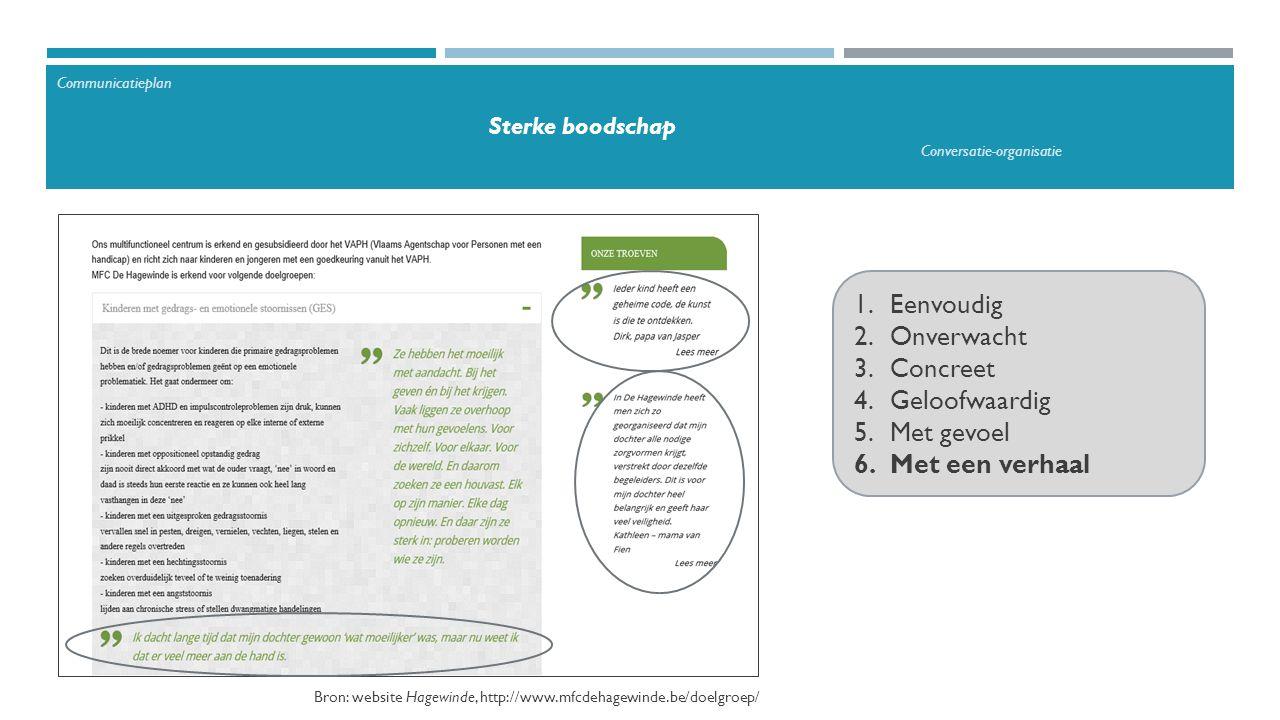 1.Eenvoudig 2.Onverwacht 3.Concreet 4.Geloofwaardig 5.Met gevoel 6.Met een verhaal Communicatieplan Sterke boodschap Conversatie-organisatie Bron: website Hagewinde, http://www.mfcdehagewinde.be/doelgroep/