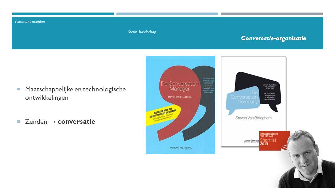  Maatschappelijke en technologische ontwikkelingen  Zenden → conversatie Communicatieplan Sterke boodschap Conversatie-organisatie