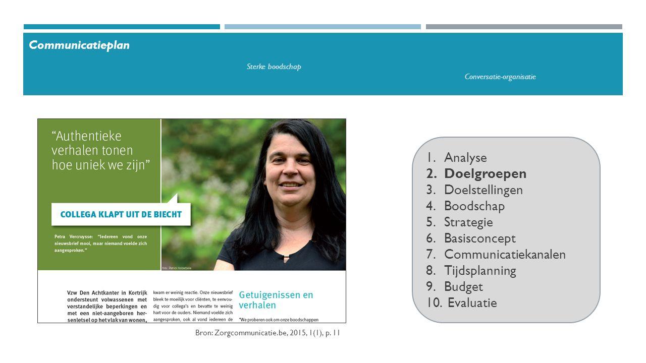 1.Eenvoudig 2.Onverwacht 3.Concreet 4.Geloofwaardig 5.Met gevoel 6.Met een verhaal Bron: missie- en visietekst van Het Gielsbos, http://www.het-gielsbos.be/portal/images/documenten/visieboekje%202014.pdf Communicatieplan Sterke boodschap Conversatie-organisatie