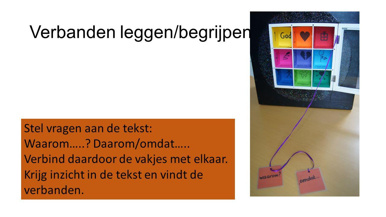 Verbanden leggen/begrijpen Stel vragen aan de tekst: Waarom…..? Daarom/omdat….. Verbind daardoor de vakjes met elkaar. Krijg inzicht in de tekst en vi