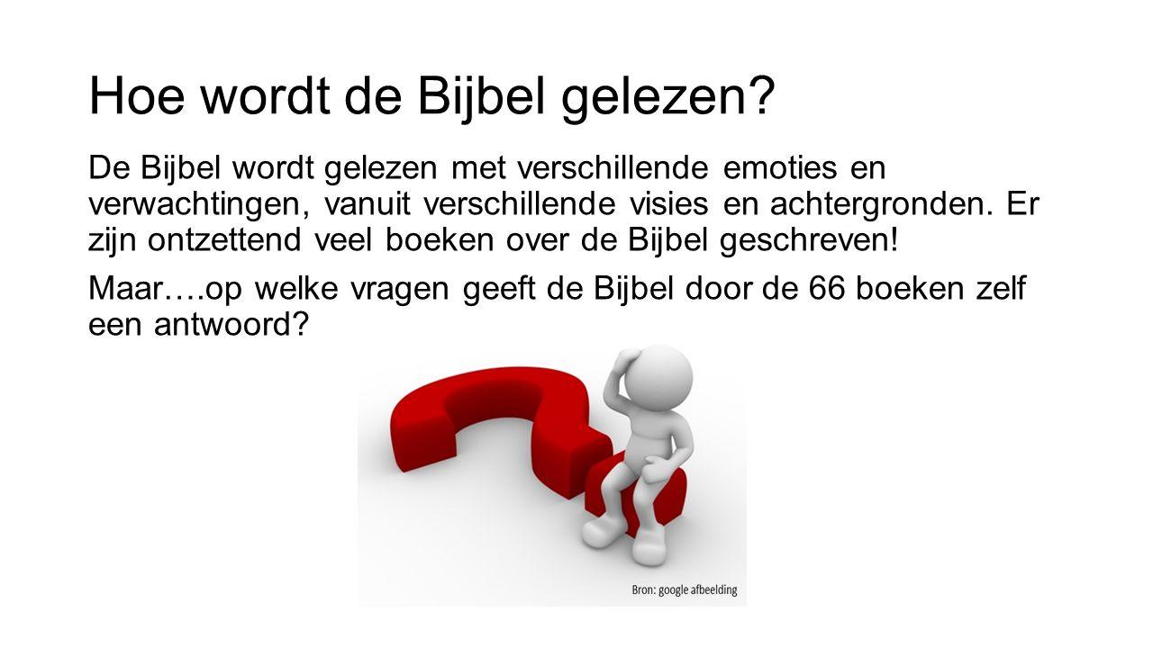 Het proces: van analyse tot tool Analyse van veel Bijbelteksten gaf 9 basisvragen/categorieën door de 66 boeken verweven.