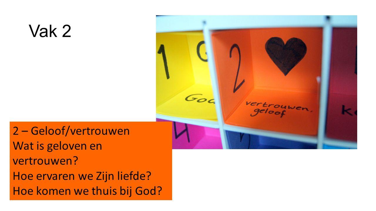 Vak 2 2 – Geloof/vertrouwen Wat is geloven en vertrouwen? Hoe ervaren we Zijn liefde? Hoe komen we thuis bij God?