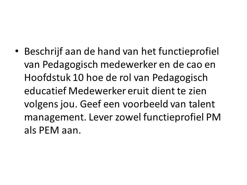 Beschrijf aan de hand van het functieprofiel van Pedagogisch medewerker en de cao en Hoofdstuk 10 hoe de rol van Pedagogisch educatief Medewerker eruit dient te zien volgens jou.
