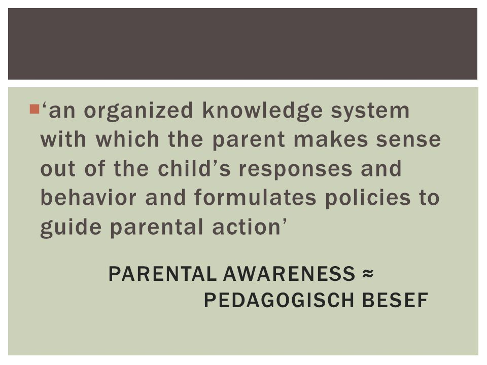 PARENTAL AWARENESS ≈ PEDAGOGISCH BESEF  'an organized knowledge system with which the parent makes sense out of the child's responses and behavior and formulates policies to guide parental action'