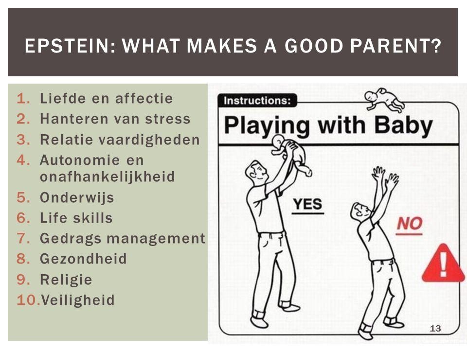 1.Liefde en affectie 2.Hanteren van stress 3.Relatie vaardigheden 4.Autonomie en onafhankelijkheid 5.Onderwijs 6.Life skills 7.Gedrags management 8.Ge