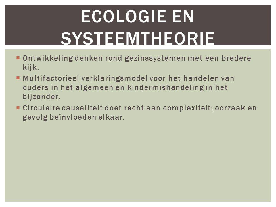 ECOLOGIE EN SYSTEEMTHEORIE  Ontwikkeling denken rond gezinssystemen met een bredere kijk.  Multifactorieel verklaringsmodel voor het handelen van ou