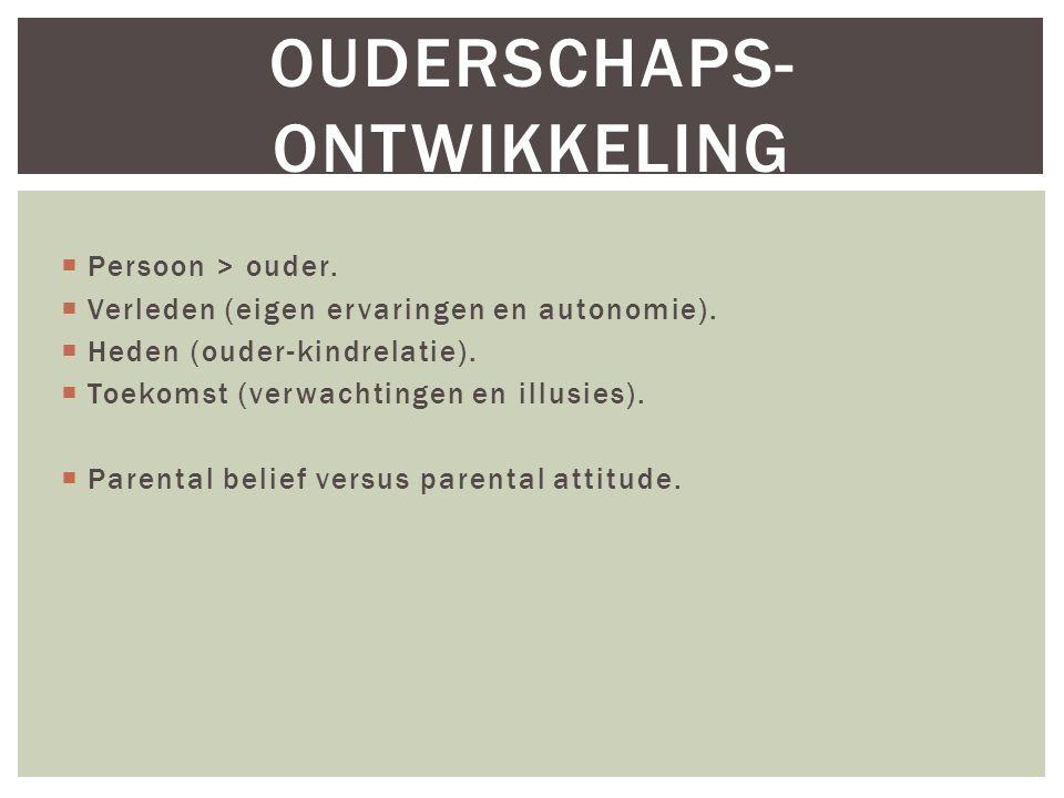 OUDERSCHAPS- ONTWIKKELING  Persoon > ouder.  Verleden (eigen ervaringen en autonomie).  Heden (ouder-kindrelatie).  Toekomst (verwachtingen en ill