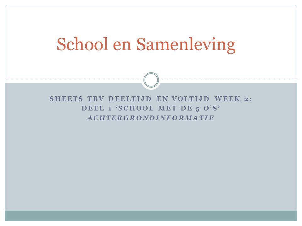 SHEETS TBV DEELTIJD EN VOLTIJD WEEK 2: DEEL 1 'SCHOOL MET DE 5 O'S' ACHTERGRONDINFORMATIE School en Samenleving