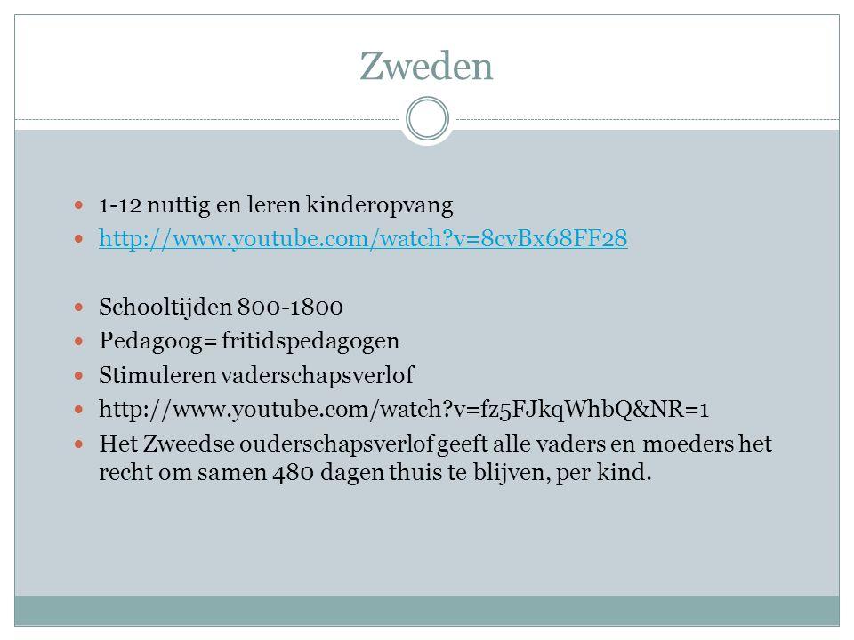 Zweden 1-12 nuttig en leren kinderopvang http://www.youtube.com/watch?v=8cvBx68FF28 Schooltijden 800-1800 Pedagoog= fritidspedagogen Stimuleren vaderschapsverlof http://www.youtube.com/watch?v=fz5FJkqWhbQ&NR=1 Het Zweedse ouderschapsverlof geeft alle vaders en moeders het recht om samen 480 dagen thuis te blijven, per kind.