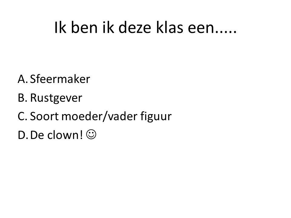 Ik ben ik deze klas een..... A.Sfeermaker B.Rustgever C.Soort moeder/vader figuur D.De clown!