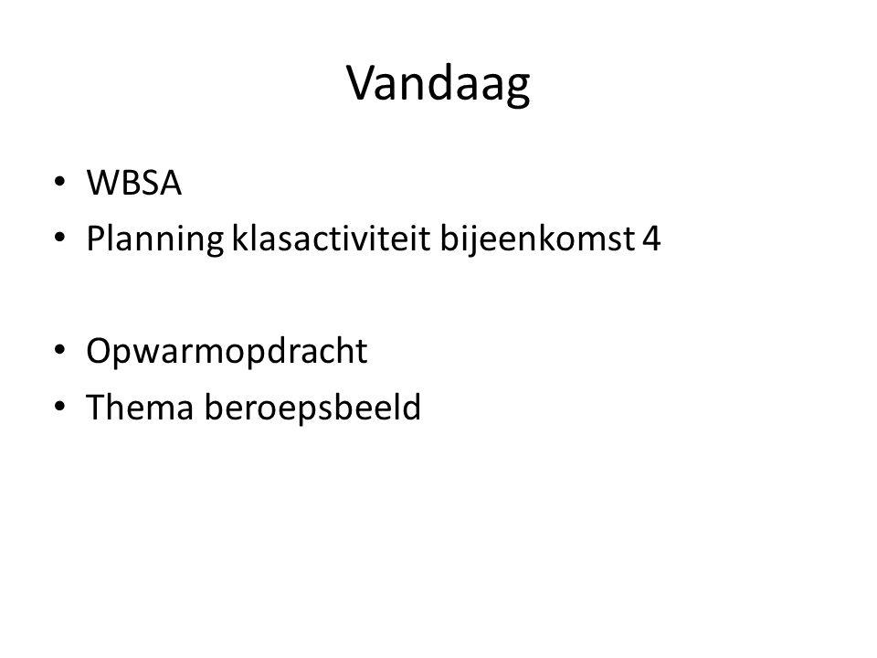 Vandaag WBSA Planning klasactiviteit bijeenkomst 4 Opwarmopdracht Thema beroepsbeeld