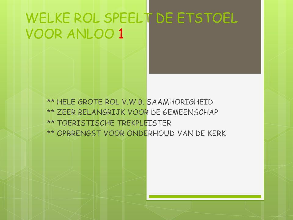 WELKE ROL SPEELT DE ETSTOEL VOOR ANLOO 1 ** HELE GROTE ROL V.W.B.