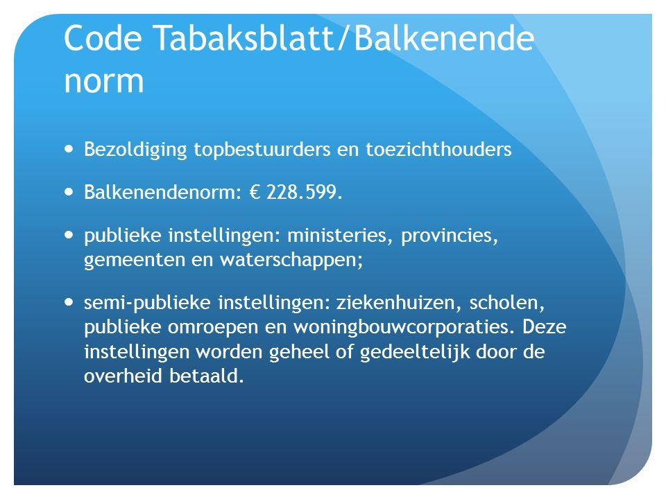 Code Tabaksblatt/Balkenende norm Bezoldiging topbestuurders en toezichthouders Balkenendenorm: € 228.599. publieke instellingen: ministeries, provinci
