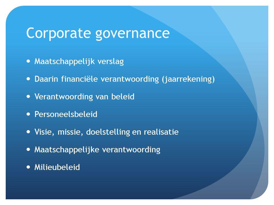 Corporate governance Maatschappelijk verslag Daarin financiële verantwoording (jaarrekening) Verantwoording van beleid Personeelsbeleid Visie, missie,