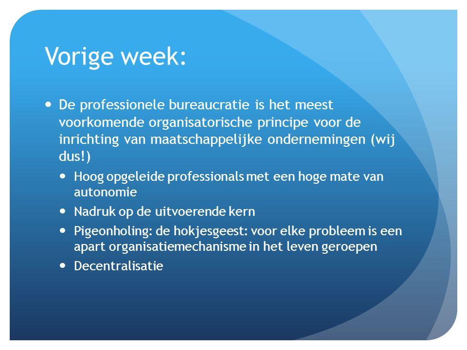 Vorige week: De professionele bureaucratie is het meest voorkomende organisatorische principe voor de inrichting van maatschappelijke ondernemingen (w