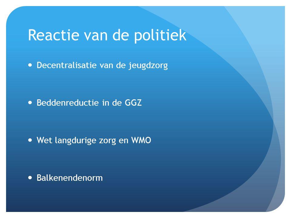 Reactie van de politiek Decentralisatie van de jeugdzorg Beddenreductie in de GGZ Wet langdurige zorg en WMO Balkenendenorm