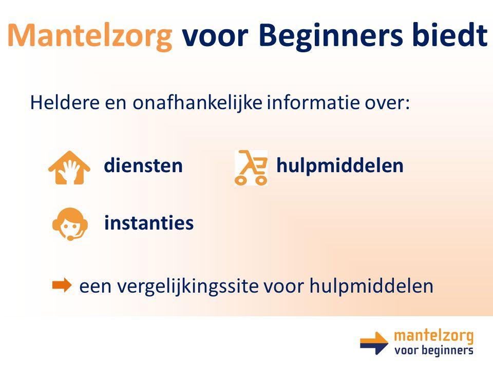 Heldere en onafhankelijke informatie over: diensten hulpmiddelen instanties een vergelijkingssite voor hulpmiddelen Mantelzorg voor Beginners biedt
