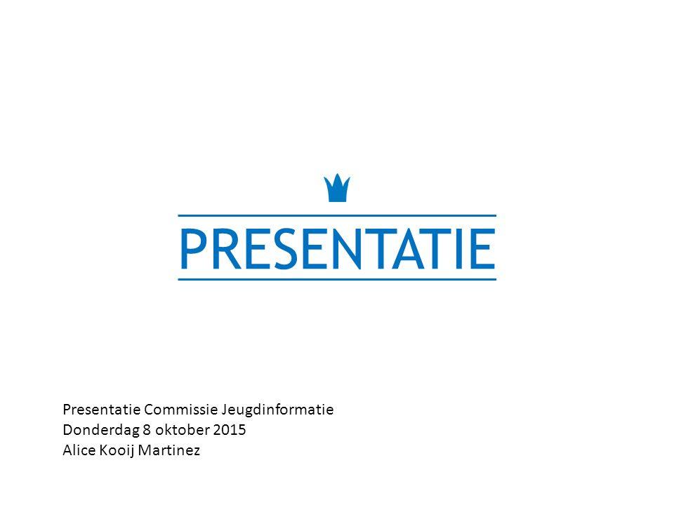 PRESENTATIE Presentatie Commissie Jeugdinformatie Donderdag 8 oktober 2015 Alice Kooij Martinez