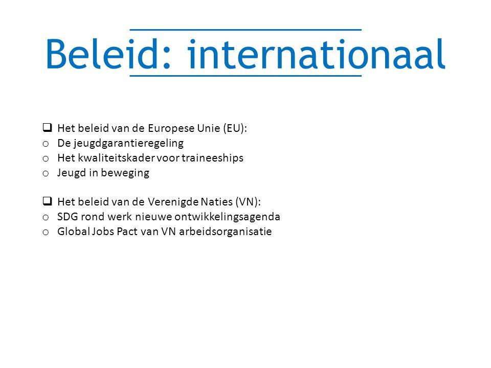 Beleid: internationaal  Het beleid van de Europese Unie (EU): o De jeugdgarantieregeling o Het kwaliteitskader voor traineeships o Jeugd in beweging  Het beleid van de Verenigde Naties (VN): o SDG rond werk nieuwe ontwikkelingsagenda o Global Jobs Pact van VN arbeidsorganisatie