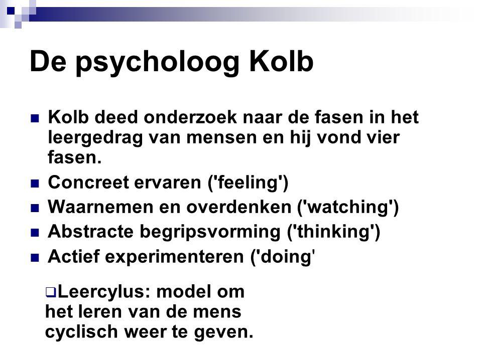 De psycholoog Kolb Kolb deed onderzoek naar de fasen in het leergedrag van mensen en hij vond vier fasen. Concreet ervaren ('feeling') Waarnemen en ov