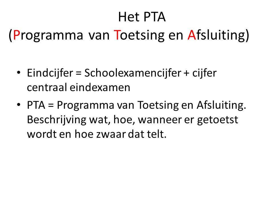 Het PTA (Programma van Toetsing en Afsluiting) Eindcijfer = Schoolexamencijfer + cijfer centraal eindexamen PTA = Programma van Toetsing en Afsluiting.