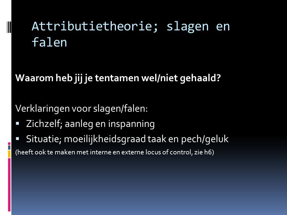 Attributietheorie; slagen en falen Waarom heb jij je tentamen wel/niet gehaald.