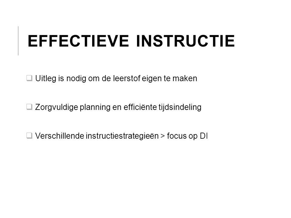 EFFECTIEVE INSTRUCTIE  Uitleg is nodig om de leerstof eigen te maken  Zorgvuldige planning en efficiënte tijdsindeling  Verschillende instructiestr