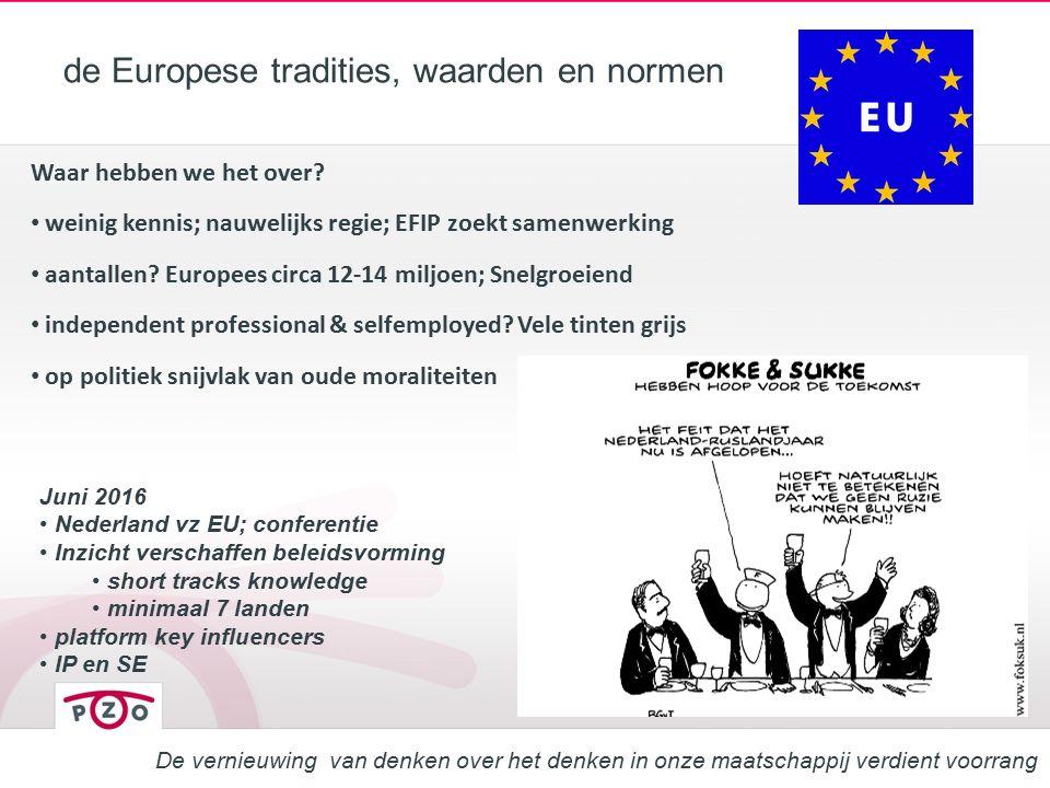 de Europese tradities, waarden en normen Waar hebben we het over? weinig kennis; nauwelijks regie; EFIP zoekt samenwerking aantallen? Europees circa 1