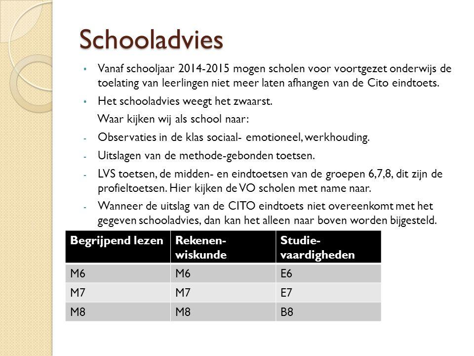 Schooladvies Vanaf schooljaar 2014-2015 mogen scholen voor voortgezet onderwijs de toelating van leerlingen niet meer laten afhangen van de Cito eindtoets.