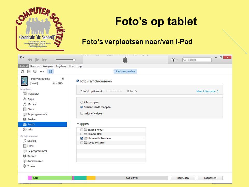 Foto's op tablet Foto's verplaatsen naar/van i-Pad