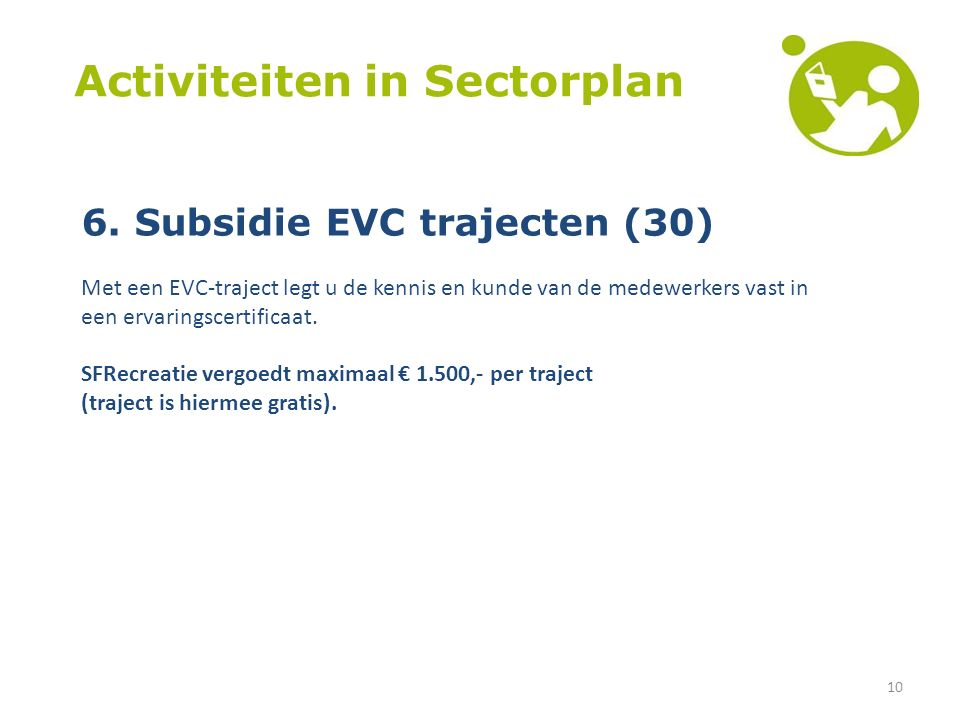 10 Activiteiten in Sectorplan 6.