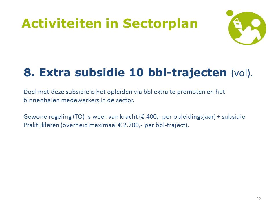 12 Activiteiten in Sectorplan 8. Extra subsidie 10 bbl-trajecten (vol).