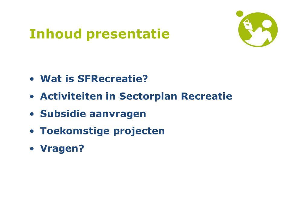 Inhoud presentatie Wat is SFRecreatie.