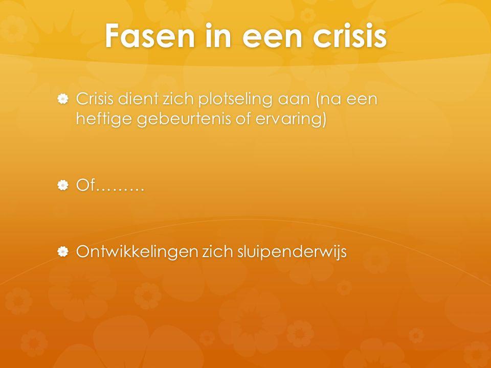 Fasen in een crisis  Crisis dient zich plotseling aan (na een heftige gebeurtenis of ervaring)  Of………  Ontwikkelingen zich sluipenderwijs