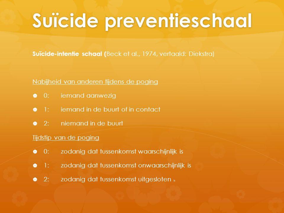 Suïcide preventieschaal Suïcide-intentie schaal ( Beck et al., 1974, vertaald: Diekstra) Nabijheid van anderen tijdens de poging   0:iemand aanwezig