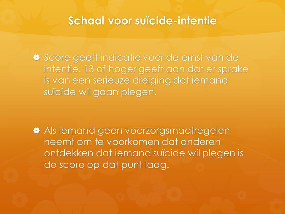 Schaal voor suïcide-intentie  Score geeft indicatie voor de ernst van de intentie. 13 of hoger geeft aan dat er sprake is van een serieuze dreiging d