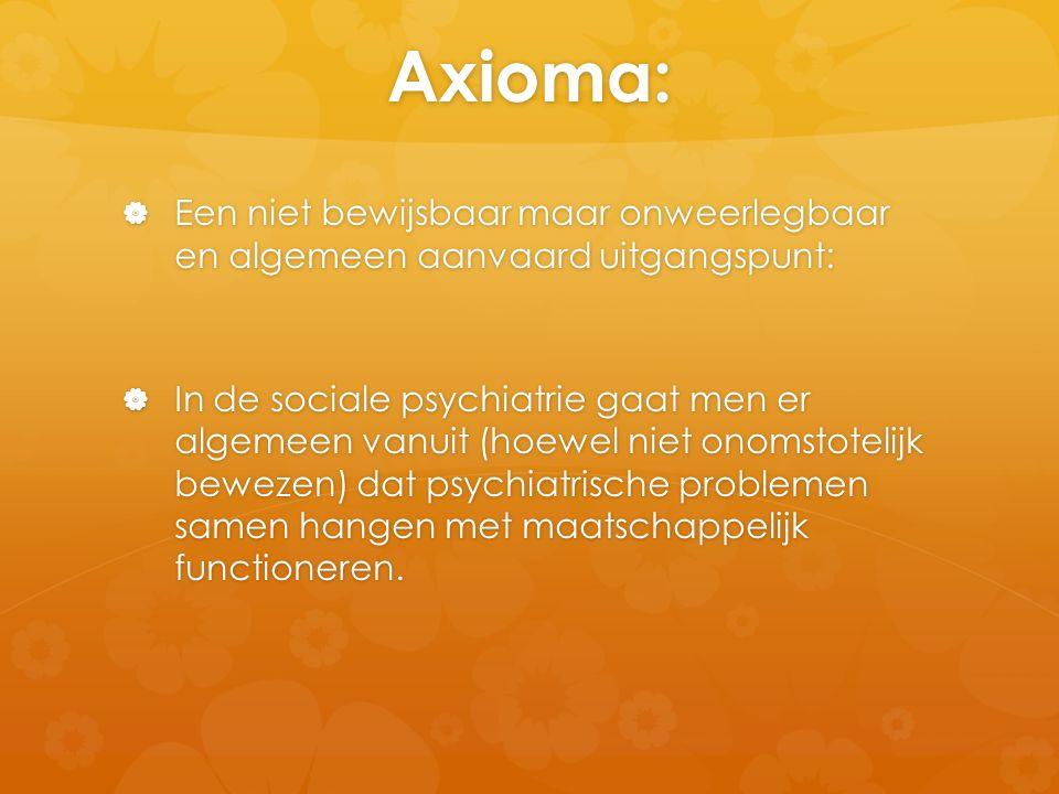 Axioma:  Een niet bewijsbaar maar onweerlegbaar en algemeen aanvaard uitgangspunt:  In de sociale psychiatrie gaat men er algemeen vanuit (hoewel ni