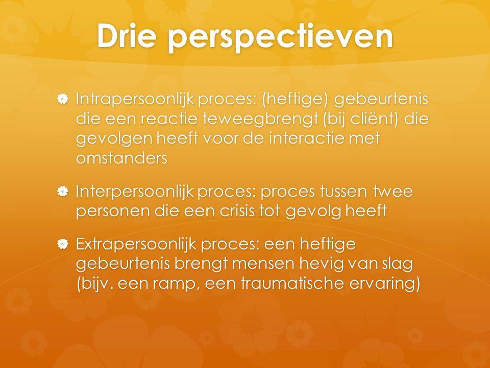 Drie perspectieven  Intrapersoonlijk proces: (heftige) gebeurtenis die een reactie teweegbrengt (bij cliënt) die gevolgen heeft voor de interactie me