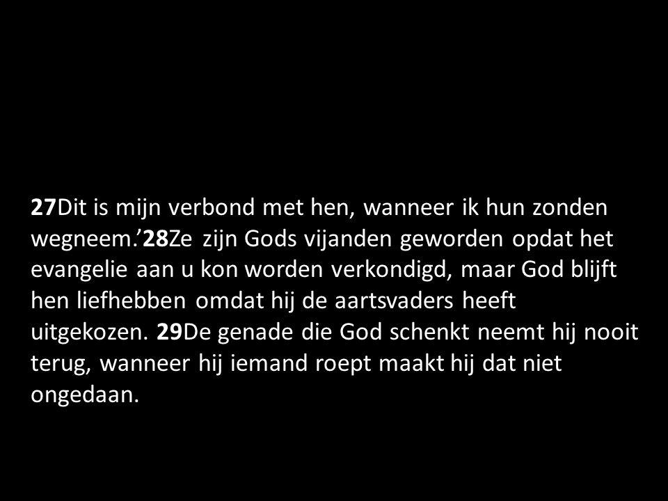 27Dit is mijn verbond met hen, wanneer ik hun zonden wegneem.'28Ze zijn Gods vijanden geworden opdat het evangelie aan u kon worden verkondigd, maar God blijft hen liefhebben omdat hij de aartsvaders heeft uitgekozen.