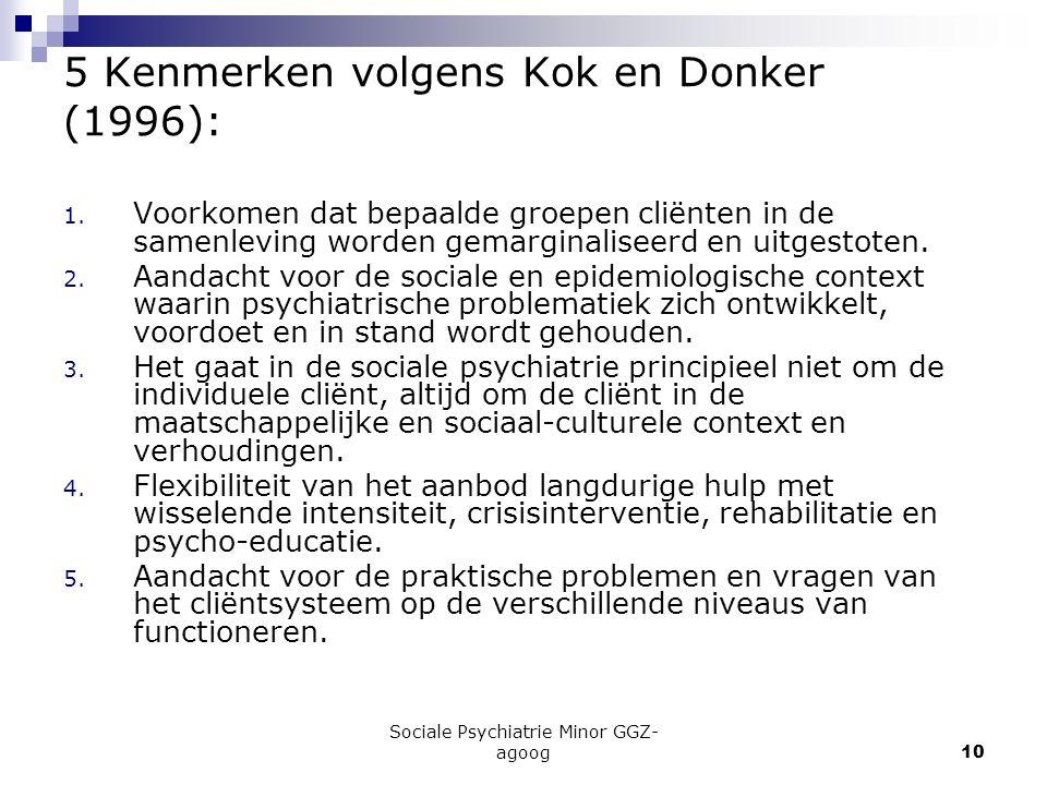 Sociale Psychiatrie Minor GGZ- agoog10 5 Kenmerken volgens Kok en Donker (1996): 1. Voorkomen dat bepaalde groepen cliënten in de samenleving worden g