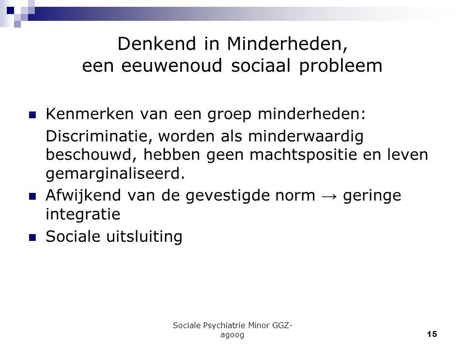 Sociale Psychiatrie Minor GGZ- agoog15 Denkend in Minderheden, een eeuwenoud sociaal probleem Kenmerken van een groep minderheden: Discriminatie, word