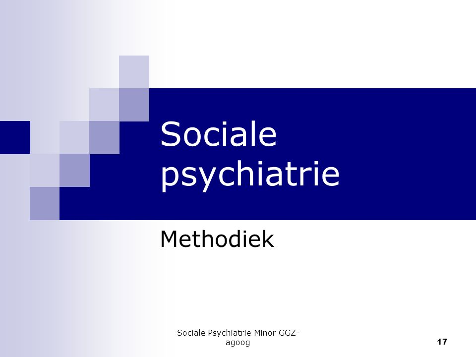 Sociale Psychiatrie Minor GGZ- agoog 17 Sociale psychiatrie Methodiek