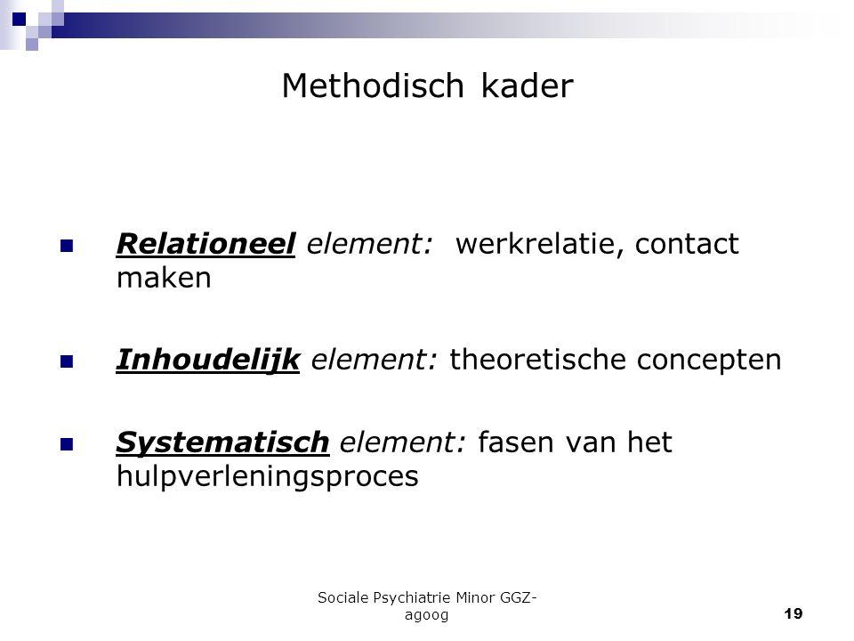 Sociale Psychiatrie Minor GGZ- agoog19 Methodisch kader Relationeel element: werkrelatie, contact maken Inhoudelijk element: theoretische concepten Sy