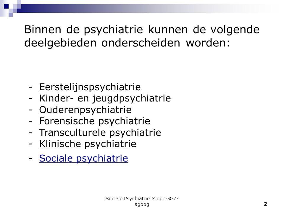 Sociale Psychiatrie Minor GGZ- agoog2 Binnen de psychiatrie kunnen de volgende deelgebieden onderscheiden worden: - Eerstelijnspsychiatrie - Kinder- e