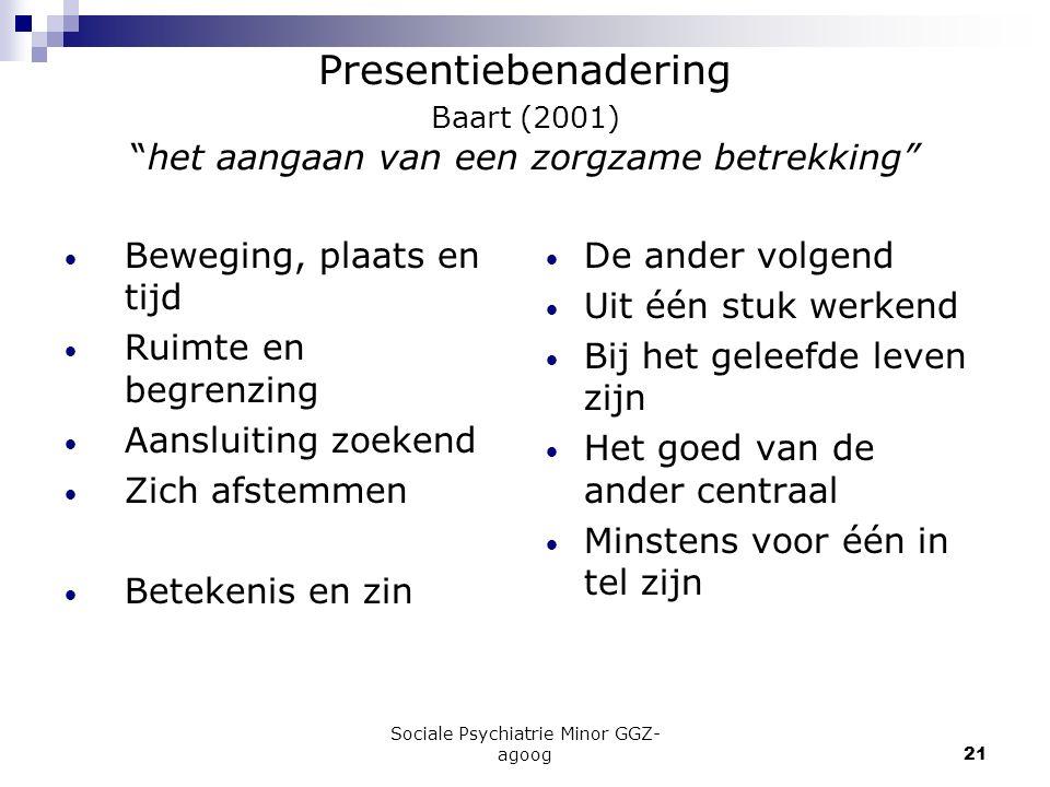 """Sociale Psychiatrie Minor GGZ- agoog21 Presentiebenadering Baart (2001) """"het aangaan van een zorgzame betrekking"""" Beweging, plaats en tijd Ruimte en b"""