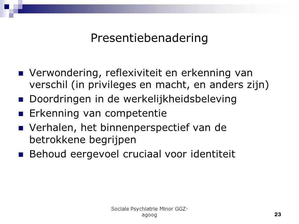 Sociale Psychiatrie Minor GGZ- agoog23 Presentiebenadering Verwondering, reflexiviteit en erkenning van verschil (in privileges en macht, en anders zi