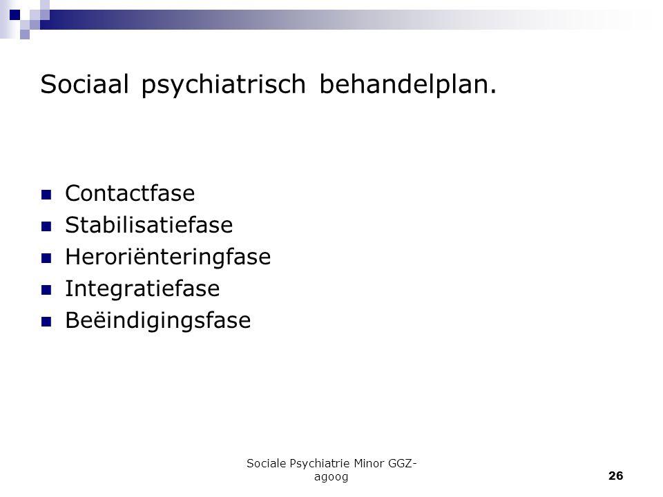 Sociale Psychiatrie Minor GGZ- agoog26 Sociaal psychiatrisch behandelplan. Contactfase Stabilisatiefase Heroriënteringfase Integratiefase Beëindigings